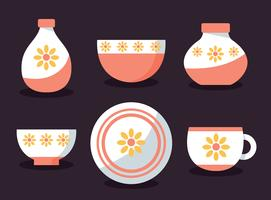Crockery With Sun Flower Ornament Vector
