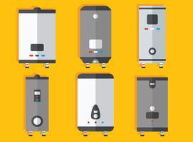 Flat Water Heater Collection Vector