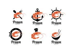 Garnelen-Meeresfrüchte-Logos geben Vektor frei