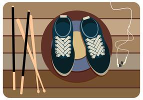 Sapatos que amarram o vetor