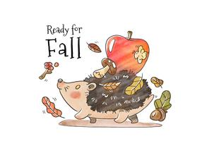 Cute Hedgehog Walking With Autumn Leaves, Mushroom And Red Apple