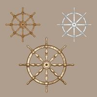 Ship Wheel Classic Vintage Set Vector