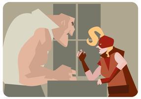 Vector de mujer de luchador de brazo