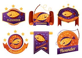 Flounder Vector Badges