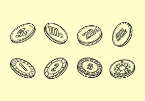 Peso Coins Outline Free Vector