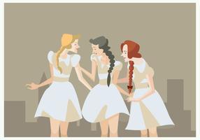 3 vintage flickor med flätat vektor