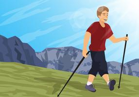 Man Doing Nordic Walking