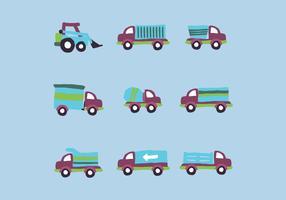 Blauwe reeks vrachtwagens