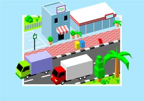 Isometric Gethuk Moving Van Free Vector
