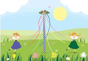 Maypole Dancing Vector