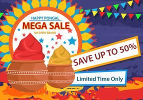 Happy Pongal Sale Flyer Vector