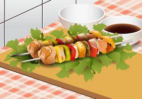 Brocheta de vegetales de pollo