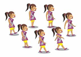 Walk Cycle Girl Vector Design