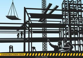 Construction Site Vector Silhouette Illustration