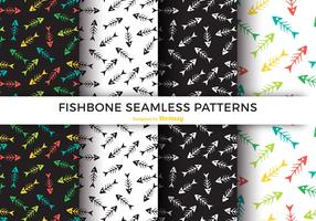 Colorful Fishbone Seamless Pattern Vector Set