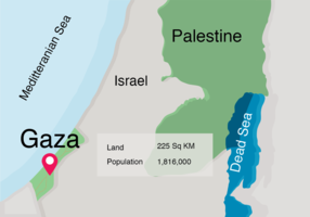 Mappa del mondo sulla striscia di Gaza