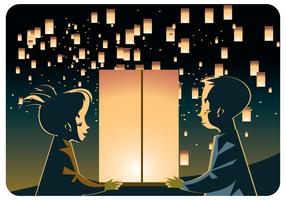 Kids Couple with Sky Lantern Vector