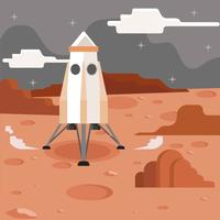Mars Exploration With Rocket Illustration