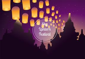 Himmel-Laternen-Festival-vektorhintergrund