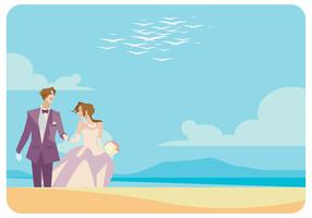 Una pareja casada en la playa Vector