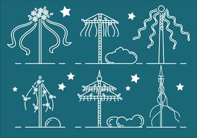 Maypole Outline Vector