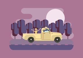Night Carpool Vector Illustration