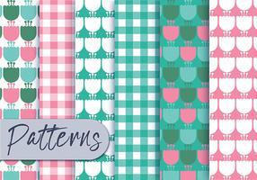Conjunto de padrões florais rosa da hortelã