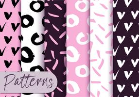 Soft Pink and Black Pattern Set