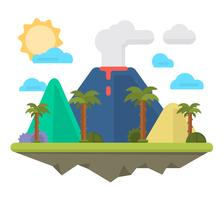 isla volcánica plana vector