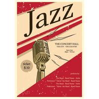 vetor de cartaz de concerto de jazz vintage