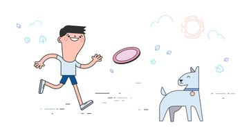 vetor de cachorro frisbee
