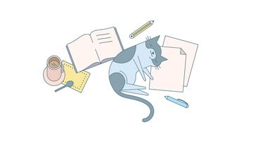 Cat and Homework Vector