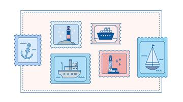 Nautical Stamps Vector