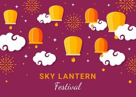 Lantern in the Night Sky Vector