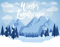 Flat Design Vector Winter Landscape