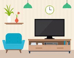 Flat Design Vector Room Diseño Ilustración