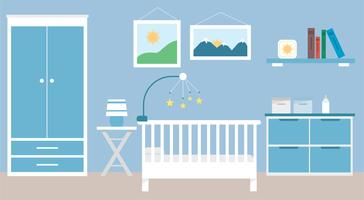 Flache Design-Vektor-Baby-Raum-Illustration