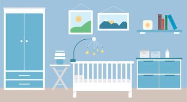 Ilustración de habitación de bebé de vector de diseño plano