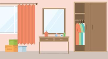 Ilustración de habitación de vector de diseño plano