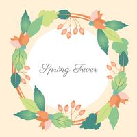 Flat Design Vector Spring Fever Greeting Card