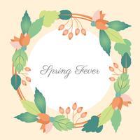 Flat Design Vector Spring Fever Greeting Card