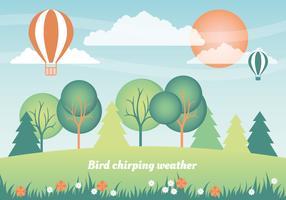 Flat Design Vector Spring Landscape Design