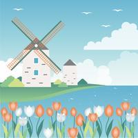 Diseño plano Vector Spring Landscape