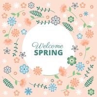 Flat Design Vector Spring Greeting Card