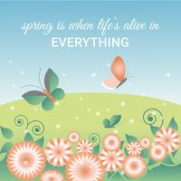 Flat Design Vector Spring Greeting Card Design