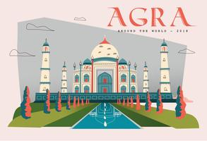 Postcard Taj Mahal Landmark In Agra Vector Flat Illustration