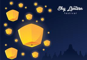 Sky Lantern Festival Background vector