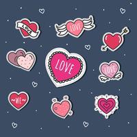 Etiquetas engomadas del corazón Set Vector