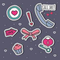 Romantic  Stickers Set Vector