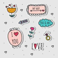 Hand Drawn Love Stickers Set